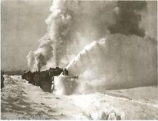 Three Steam Engines Pushing Snow Plow Huge Snow Blower Calumet MI Copper Mines