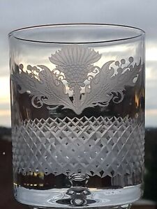 Thistle Design Bubble Base 10 oz Whisky Glass (Frosted Finish)