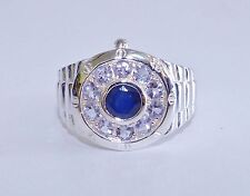 GENUINE, RARE 1.64tcw! Tanzanite & Sapphire Men's Ring, Solid S/Silver 925!