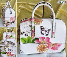 NEU Große Tasche Perlen-Schmetterling-Strass-Blüten Schultertasche Italy Weiß