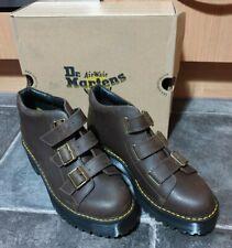 Dr Martens Coppola Dk.Brown Vintage Leather Platform Heel Boots UK9 Steampunk