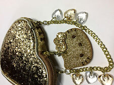Camomilla I Love Hello Kitty Borsello Cuore Heart Glitter Oro Gold OVP