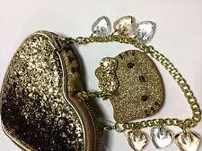 Camomilla I Love Hello Kitty Borsello Cuore Heart Glitter Oro Gold OVP