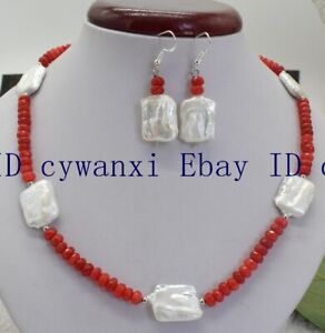 2x4mm Faceted Orange Ruby 15x20mm White Pearl Necklace 18'' 925 Silver Earring