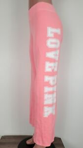 Victoria's Secret Sweatpants Women's Size Large Hot Pink Spell Out Loose Fit
