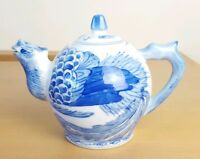Vintage Oriental Blue & White China Teapot Bird Figure Chinese Eastern Stamped