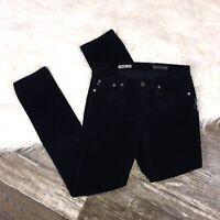 ADRIANO GOLDSCHMIED Womens Corduroy Jeans 27 Black Stevie Slim Straight Stretch