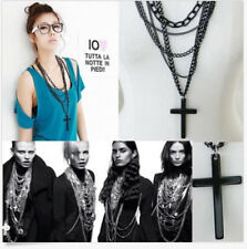 Sexy Retro Fashion Vintage Punk Style Cross Pendant Black Long Chain Necklace