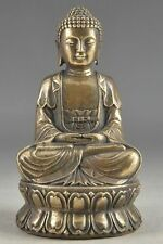 Hand Hammered Bless Collectable Chinese Brass Old Amulet Buddha Statue mk