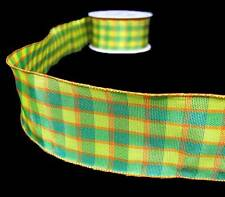 """3 Yds Yellow Lime Green Blue Orange Gingham Plaid Wired Ribbon 1 1/2""""W"""