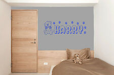 Personalised Teddy Bear Wall Sticker Girls Boy Any Name Vinyl Kids Bedroom