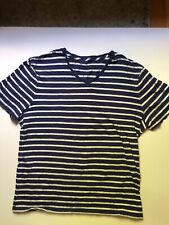 Banana Republic V Neck T-Shirt Mens Blue Stripe Size Large