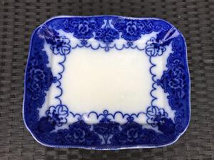 Antique S F & Co Lincoln Pottery Lonsdale Flow Blue Platter Meat Plate C1895