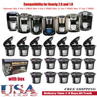 Refillable Reusable Single K-Cups Filter Pod for Keurig 2.0 Coffee Makers BLK US