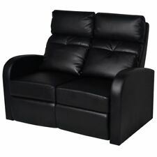 vidaXL 242001 Recliner 2-Seat Artificial Leather Sofa - Black