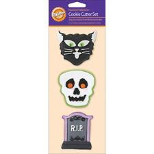 New listing Wilton Metal Cat, Skull, Tombstone Rip Cookie Cutter Set 3 Piece Pastry Cutters