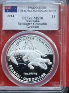 "Australien 1 Dollar ""Crocodile Graham"" 2014 PP-Proof  #F2057 PCGS MS 70 rare"