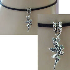 Fairy Choker Necklace Pendant Jewelry Handmade New Black Chain Silver Fairies