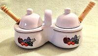Double Condiment Set with Lids and Spoons White Ceramic by Houston Harvest VTG