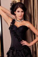 Sexy Women's Black Rose Floral Corset Basque Lingerie Burlesque