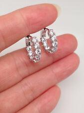 925 Sterling Silver Cz Huggie Hoop Earrings Womens 15x3mm