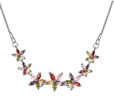 18K GOLD GP Made With Swarovski Elements Crystal Multi coloured Flower NECKLACE