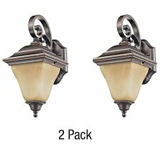 Dark Rubbed Bronze Outdoor Wall Light Lantern 2 - Pack with Marbled Glass