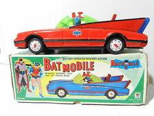 VINTAGE TIN TOY BATMAN BATMOBILE BATTERY OPERATED LITHO RED WORKS 1970 W/ BOX