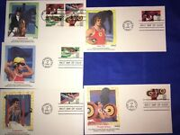 OLYMPICS 1984 FLEETWOOD FIRST DAY COVERS SWIM, EQUESTRIAN, GYM, SHOTPUT, WEIGHT