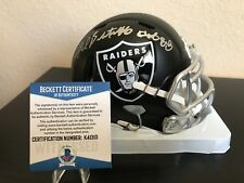 Fred Biletnikoff  Signed Oakland Raiders Blaze Mini Helmet with Beckett COA