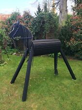 110cm Holzpferd Voltigierpferd Pferd Pony Rappe mit Maul wetterfest NEU !!