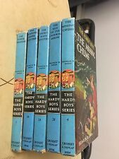 5 VINTAGE HARDY BOYS BOOKS, MATTE COVERS, VOLUMES: 1, 4, 24, 28, 34