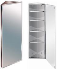 1200mm Stainless Steel Mirror Bathroom Corner Cabinet Bevelled Edge Reversible