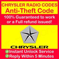 CHRYSLER RADIO CODE Stereo Pt Cruiser Stratus Voyager Vision Instant & Expert