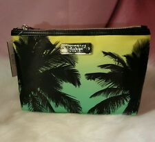Victorias Secret Makeup Cosmetic Zip Case Travel Bag Palm Tree Neon NWT