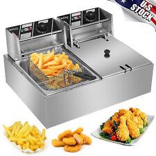 5000w 127qt12l Electric Countertop Deep Fryer Dual Tank Commercial Restaurant