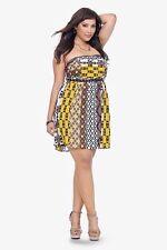 New Torrid Retro Boho Pinup Yellow & Brown Tribal Print Strapless Dress 22W