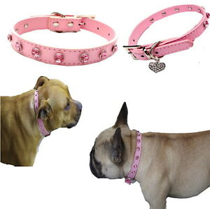 Dog Collar Pink Large Rhinestones XS S M L - Sparkling Bling Faux Leather