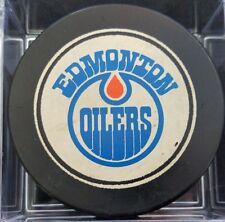 1980s VINTAGE EDMONTON OILERS   NHL VICEROY SLUG CANADA HOCKEY PUCK +HOLE B.S.