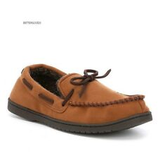 ROUNDTREE & YORKE men Memory Foam MOCCASIN HOUSE SLIPPERS Shoes CHESTNUT 11-12 L