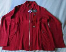 New Women's Medium Full Zip Jacket Red Kirkland Signature 98% Cotton 2% Spandex