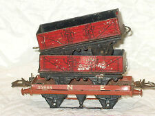 3 VINTAGE HORNBY O GUAGE TIN WAGONS JUST NEEDS SOME WHEELS