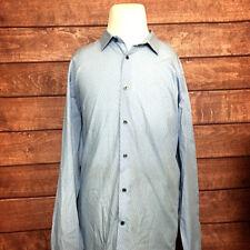 Vince Mens Shirts L/S Blue Button Front Polka Dots Size XXL
