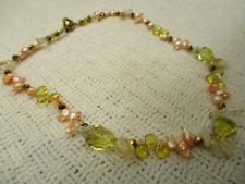 GENUINE MOP PEARL SALMON CRYSTAL HELIODOR NECKLACE HIGH END VTG ESTATE JEWELRY