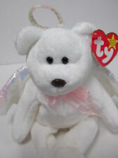 """Ty Beanie Baby  """"Halo"""" the White Wing Angel Bear Brand New w/Mint Tags & Case"""