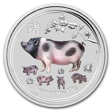2019 ~ 2~OZ .9999 SILVER ~ COLORIZED ~ YEAR of the PIG ~ PERTH MINT ~GEM~ $66.88
