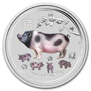 2019 ~ 2~OZ .9999 SILVER ~ COLORIZED ~ YEAR of the PIG ~ PERTH MINT ~GEM~ $98.88