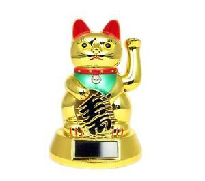 Lucky Cat 5 Gold Waving Solar Power Powered Chinese Fortune Gold Maneki Neko