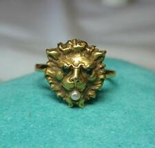 Lion Ring Emerald Pearl Victorian Belle Epoque 14K Gold c1880 Animal Jewelry