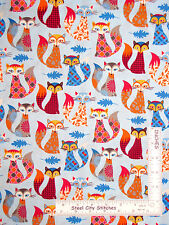 Animal Fabric -  Fox Sly Foxes Foxy Blue Toss Timeless Treasures C3804 - Yard
